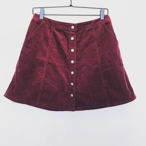 Abercrombie and Fitch Burgundy Corduroy Skirt